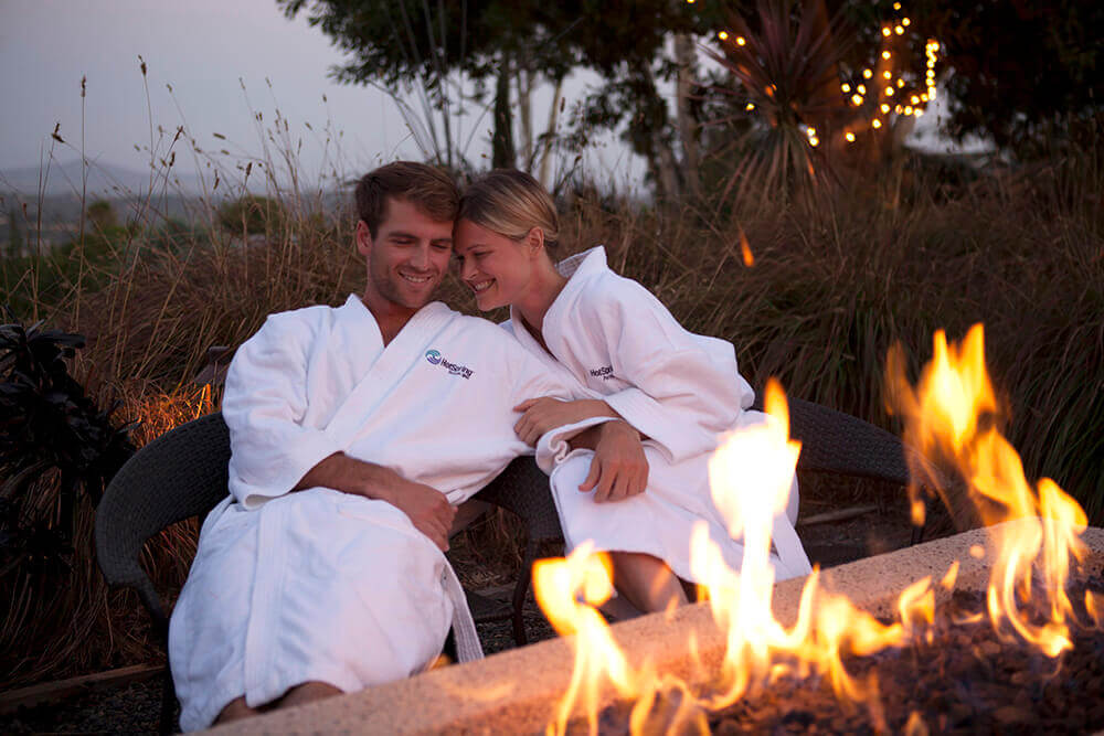Luxury Christmas Gifts - Hot tub robe couple fire image