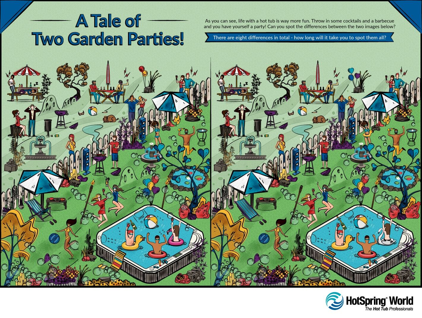 Spot the difference hot tub garden party graphic