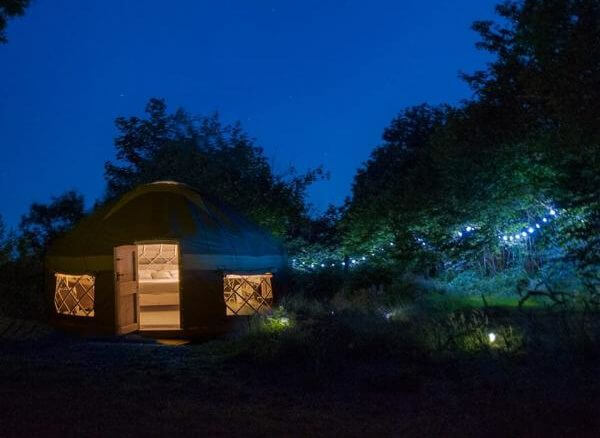 a 'glamping' yurt with a luxury hot tub