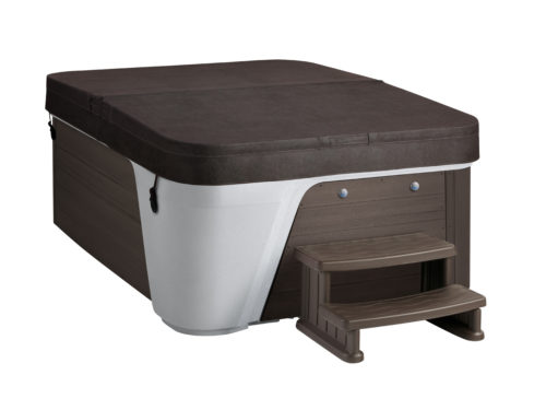 Freeflow-Premier-2020-Azure-Arctic White-Brown-Studio-Three Quarters View-Chestnut Cover and Steps