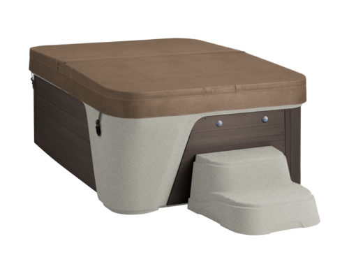 Freeflow-Premier-2020-Azure-Sand-Brown-Studio-Three Quarters View-Caramel Cover and Steps